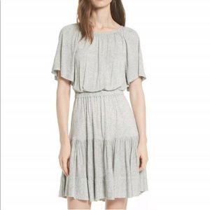 Rebecca Taylor Ruffle Back Cutout Gray Dress